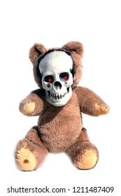 Evil Teddy Bear. Human Skull Teddy Bear. Scare Bare. Isolated on white. Room for text.