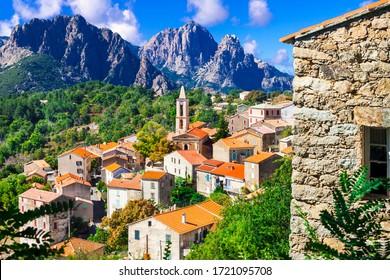 Evisa - small picturesque mountain village between splendid mountains of Corsica island