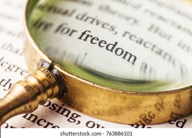 """An evocative image of the word """"freedom"""" emphasized with an old and golden magnifying glass. It could symbolize, for example, the pursuit, the quest or the desire of freedom."""