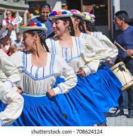 EVOLENE, SWITZERLAND - AUGUST 12: Bolivian dancers in traditional costumes:  August  12, 2017 in Evolene, Switzerland