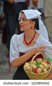 EVOLENE, SWITZERLAND - AUGUST 15: Italian folk group Aria de Casa nostra in traditional costumes:  August  15, 2019 in Evolene, Switzerland