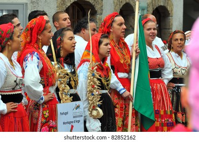 EVOLENE, SWITZERLAND - AUGUST 15:  Portuguese singers at the International Festival of Folklore and Dance from the mountains (CIME) : August 15, 2011 in Evolene Switzerland
