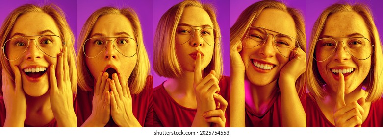 Evolution of emotions. Smiling, excited, surprised and shocked face of young beatiful girl. Concept of human emotions, facial expression, mood, divresity, sales and ad. Composite imge