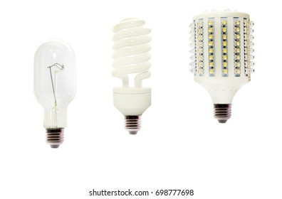 Evolution of lamps, incandescent lamp-energy-saving -LED. Isolated.