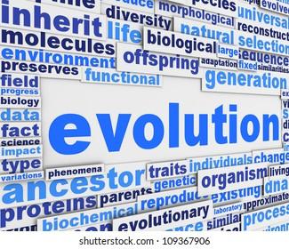Evolution poster background design. Biological organisation message concept