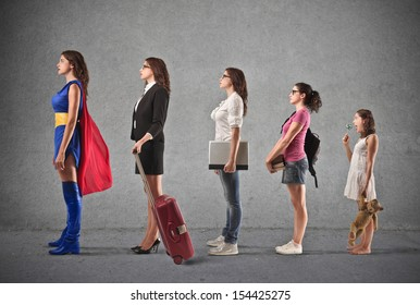 evolution of woman from small child to super hero