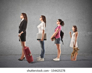 evolution of women from child to career woman