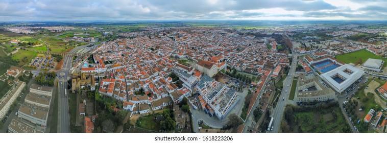 Evora. Panoramic Aerial View in Evora, historical city of portugal