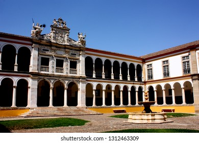 Evora, Portugal - 3rd September 2018: One of the inner quadrangles at the university in Evora
