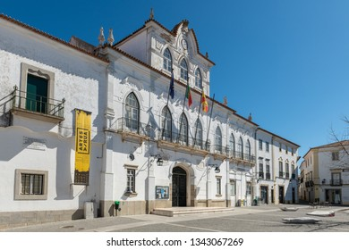EVORA, PORTUGAL - CIRCA MARCH 2019: View at the Town hall of Evora in Portugal. Evora is a pleasant medium-sized city and has numerous monuments.