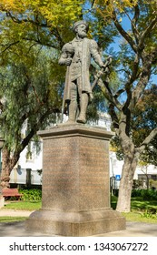 EVORA, PORTUGAL - CIRCA MARCH 2019: Statue of Vasco da Gama presented to Evora by the South African province of Natal in 1997 on the 500th anniversary of his discovery of Natal on Christmas day 1497.