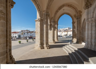 EVORA, PORTUGAL - CIRCA MARCH 2019: Facade of the church of St. Francis or Chapel of the Bones. Gothic style with some Manueline influences.