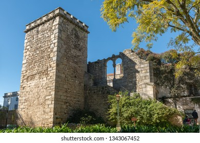 EVORA, PORTUGAL - CIRCA MARCH 2019: Fake Ruins in the Evora Public Park in Portugal built in the 1860s using materials from the ruins of several other local monuments mostly remains of twinned windows