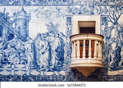 Evora, Portugal - February 1, 2019: Detail of the pulpit of Igreja da Misericordia, important baroque church in Evora, Alentejo (Portugal), masterpiece of azulejos painted tiles, on february 1, 2019