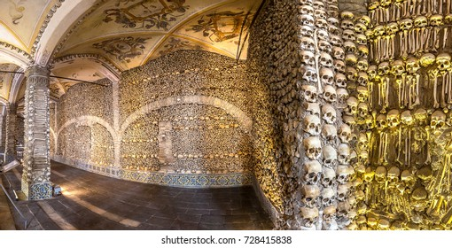 EVORA, PORTUGAL - JULY 25, 2017: Capela dos Ossos (Chapel of Bones) in Evora, Portugal in a beautiful summer day