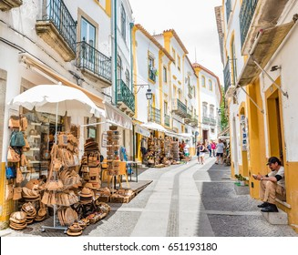 EVORA, PORTUGAL - JUNE 2, 2016: Street view of the Historic Centre of Evora, Portugal. The Historic Centre of Evora is a UNESCO World Heritage Site.