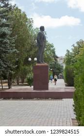 Evpatoria, Crimea, Russia - July 1, 2018: Monument to Vladimir Ilyich Lenin in the Lenin garden of the resort city of Evpatoria, Crimea