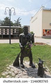 Evpatoria, Crimea, Russia - July 29, 2018: Monument to the janitor in Gogol Street in the city of Evpatoria, Crimea