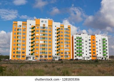 Evpatoria, Crimea, Russia - July 4, 2018: New building on Victory Avenue in the resort town of Evpatoria, Crimea