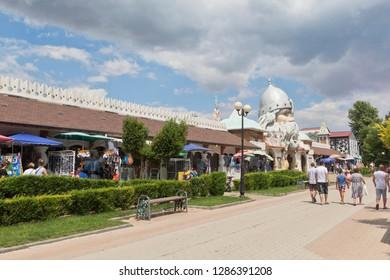 Evpatoria, Crimea, Russia - July 4, 2018: Gorky Pedestrian Street at the water park U Lukomorye in the resort town of Evpatoria, Crimea