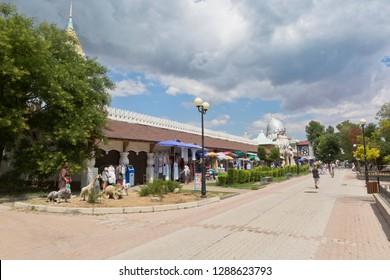 Evpatoria, Crimea, Russia - July 4, 2018: Waterpark U Lukomorye on Gorky pedestrian street in the resort town of Evpatoria, Crimea