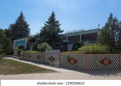Evpatoria, Crimea, Russia - July 4, 2018: Mustafa Cafe-Theater in the resort town of Evpatoria, Crimea