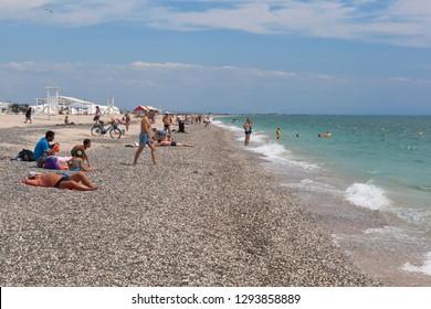 Evpatoria, Crimea, Russia - July 5, 2018: Resorts on Novy beach in the city of Evpatoria, Crimea