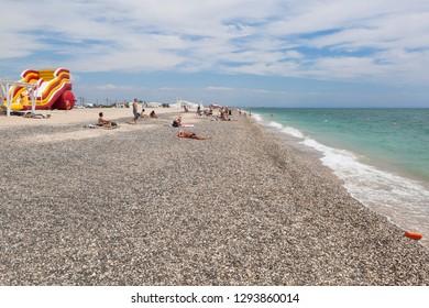 Evpatoria, Crimea, Russia - July 5, 2018: The new beach of the resort town of Evpatoria, Crimea