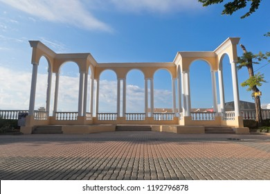 Evpatoria, Crimea, Russia - June 30, 2018: Colonnade on the Gorky Embankment in the resort town of Evpatoria in the early morning, Crimea