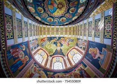 Evpatoria, Russia - September 10, 2017: Cathedral of St Nicholas the Wonderworker ceiling of the vault in the temple with frescoes close-up