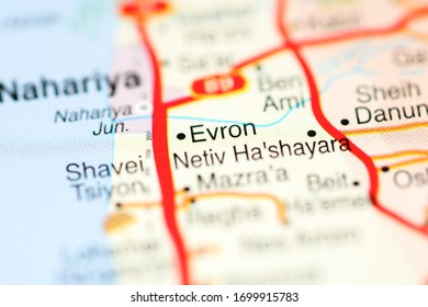 Evron on a geographical map of Israel