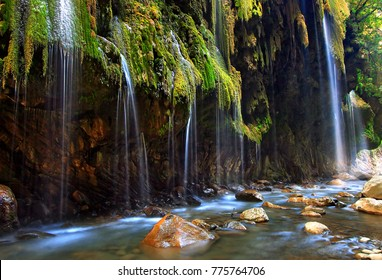 """EVRYTANIA, GREECE. The """"Panta Vrehei"""" (literally """"Always raining"""") canyon, a remote, secluded  natural paradise."""