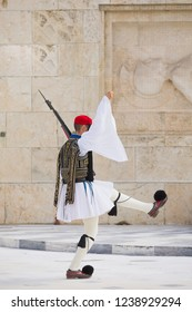 Evzones guarding the Tomb of the Unknown Soldier in Athens