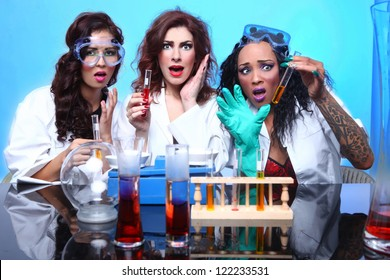 Exaggerated Science Students in Sexy Clothing Experimenting