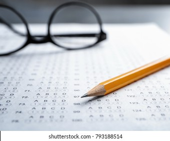 Exam form and pencil, closeup
