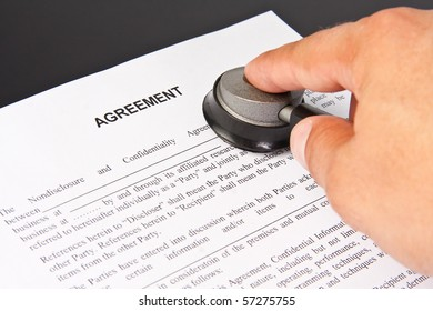 Examination of the business agreement. Businessman with stethoscope
