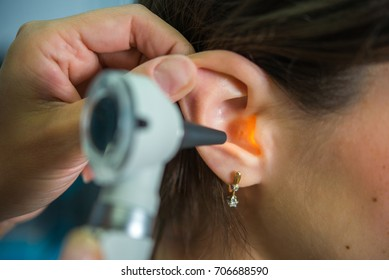 Examination by a doctor audiologist of the external ear, ear canal with the help of an optical endoscope, diagnosis of ear diseases