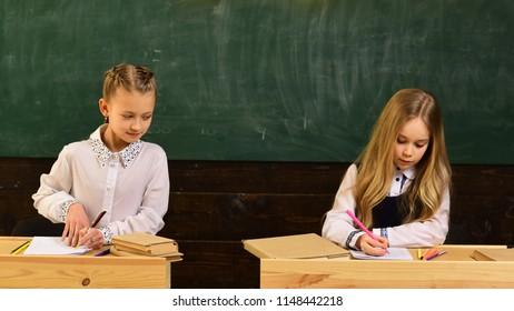 examination. girls are ready to examination. examination preparing. school examination of two pupils. having opportunity to everywhere