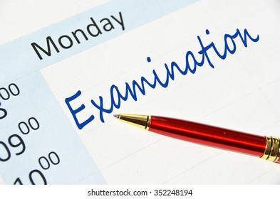 Examination note in the agenda