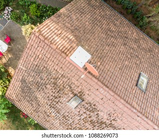 Examination of the roof of a house with a drone, aerial photograph, from the roof of a detached house, Germany
