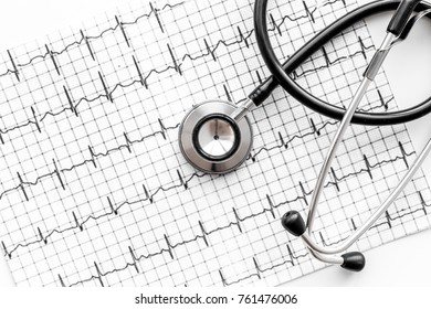Examine the heart to prevent heart disease. Stethoscope on cardiogram background top view