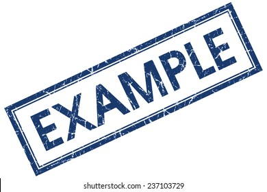 example blue square stamp isolated on white background