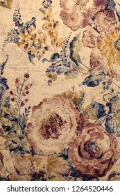 Example of carpet with floral details, note shallow depth of field