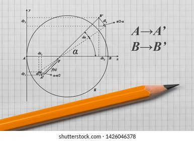 Example of a geometric sketch and a pencil on bright background