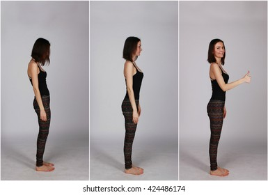 an example of good and poor posture, straight and bent spin - collage