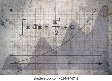 Example of an indefinite integral of a function on vintage background