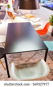 example of model modern chairs, note shallow depth of field