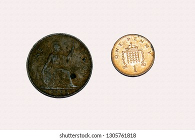 Example of pre and post decimal British 1 penny coinage showing different size and design