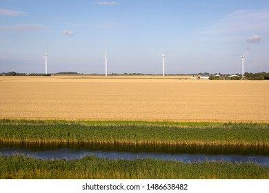 An example of renewable energy produced with wind turbines on a grain field in northern Germany.