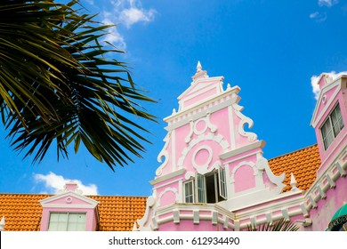 Example of vibrant and colorful Dutch architecture on buildings in Caribbean city of downtown Oranjestad, Aruba